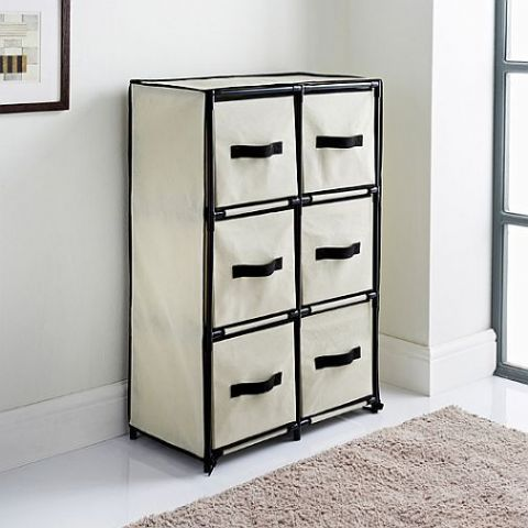 Cream Covered 6 Drawer Storage Chest